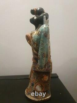 Japanese Satsuma Statue Of Geisha Very Rare Made In Japan 12.4 tall antique
