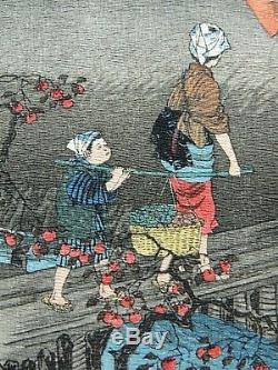 Japanese Woodblock by Takahashi Shotei Autumn Village- Rare Chirimen Edition