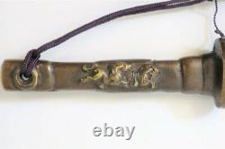 Japanese antique Jitte Red copper Edo police traditional Item Edo Era Rare