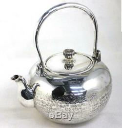 Japanese antique sterling silver Sencha Ginbin teapot 386g vintage Rare