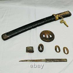 Katana Koshirae Rare Saya Kozuka Tsuba Habaki Seppa Samurai Sword Antique Japan