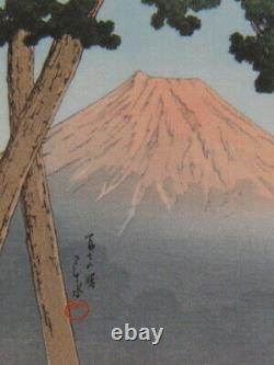 Kawase Hasui Japanese Woodblock print 70 x 70 mm Ukiyoe Rare Vintage Collector