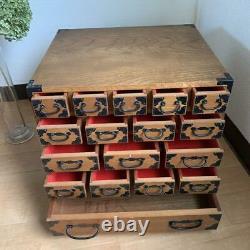Keyaki Sewing box Seventeen cups japanese vintage wooden tansu color beige rare