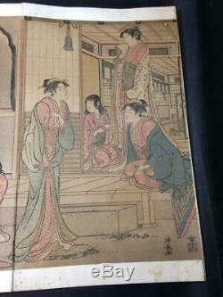 Kiyonaga Torii Japanese Woodblock print Ukiyo-e Ukiyoe Vintage Collector Rare