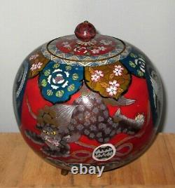 LARGE RARE Meiji Japanese Cloisonne Koro Jar Vase w Lid Pheonix Tigers Excellent