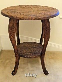 LIBERTY JAPANESE Large Rare Round CARVED SIDE TABLE c1900 W60cm H70cm Perfect