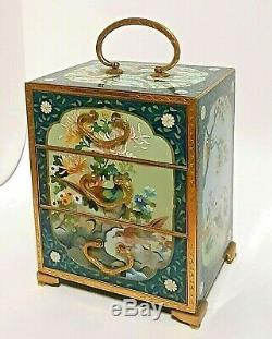 Magnificent Rare Antique Japanese cloisonne Jewelry Box, Inaba, Peacock, quails