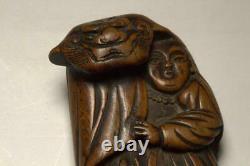 NW116 RARE Japanese Antique wooden Shishimai (lion dance) Netsuke # ojime