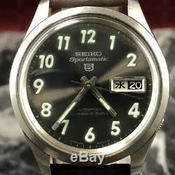 OH serviced, Rare Vintage SEIKO 5 Sportsmatic 6619-8280 KANJI Japanese Day #119