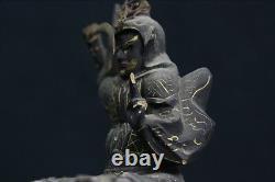 Old, Japan, rare Myoken Bodhisattva, Buddhist, wooden, statue Buddha. Crystal eyes