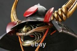 Old Vintage Japanese Samurai Helmet -Kuroda Nagamasa- with a mask Rare
