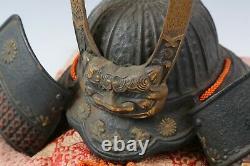 Old Vintage Japanese Samurai Helmet -Ogre Genji Helmet- Rare Product
