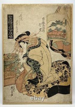 Original Japanese 1820s Ukiyo-e Oban Woodblock Print by Keisai Eisen, Very Rare
