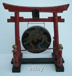 Original Rare Circa 1900 Small Japanese Shinto Firebird Phoenix Gong