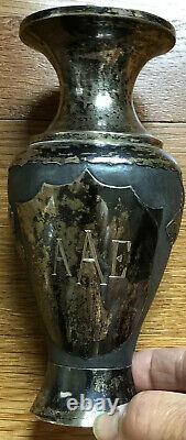 PAIR Japanese Silver Vases Meiji Chrysanthemum Flowers Eagles Shield Signed Rare