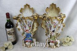 PAIR antique rare Vieux paris Vases japanese figurines geisha floral 19thc