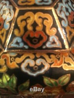 Pair Of Japanese/Chinese cloisonne Brass Enamel Painted Urns/Vases Vintage Rare