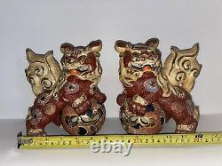 Pair Of Two Old Rare Japanese Ornate Kutani Shisa Foo Lion Dog Temple Guardians