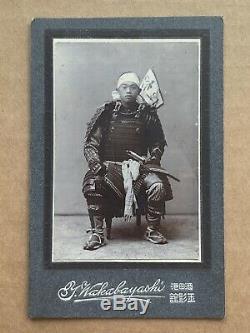 RARE! 1907 Japan Antique Photo / Portrait of Japanese Samurai w Sword Armor Flag