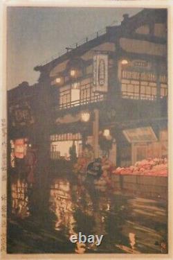 RARE 1929 Japanese Shin Hanga Woodblock Print YOSHIDA HIROSHI'S Kagurazaka Dori