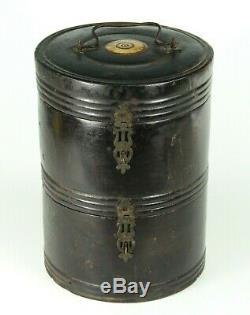 RARE Antique 18th c. Edo Japanese Bento Box Ebonized Wood Black Lacquer 2-tier