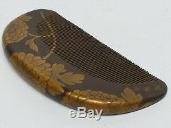 RARE Antique JAPANESE EDO Signed LACQUER HAIR COMB with FLOWERS in Gold Maki-e
