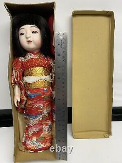 RARE! Antique Japanese 14 Ichimatsu Doll Withsilk Kimono Circa 1930s-1940s