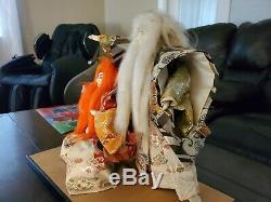 RARE Antique Japanese KABUKI Samurai Warrior Dolls Figurine Real Hair Long