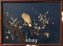 RARE Antique Japanese Meiji Master Shibayama Blue Lacquer Inlaid Wood Panel