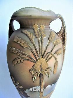 RARE Antique NIPPON Coralene PALM TREE Painted JAPANESE Porcelain Vase PATENT