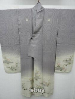 RARE Antique! Purple & Cream Silk Japanese Summer RO FURISODE wi/NADESHIKO K107