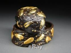 RARE! Fireflies FUCHI/KASHIRA 18-19thC Japanese Edo Antique for Koshirae G299