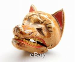 RARE Fox Noh Mask NETSUKE 19thC Japanese Edo meiji Antique for INRO F536