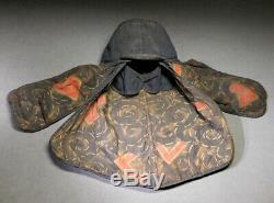 RARE HIKESHI-ZUKIN 19thC Japanese Firefighter Hood Headwear Meiji Antique