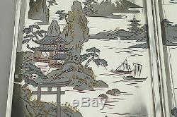 RARE JAPANESE 950 SILVER Mt FUJI & PAGODA SCENE CIGARETTE CASE Slide Opening