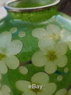 RARE JAPANESE PLIQUE A JOUR with plum blossoms Sakura cloisonne vase early xx