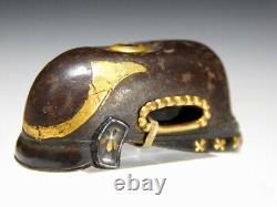 RARE KABUTO KASHIRA Japanese Original Edo Antique Tsuba Sword fitting