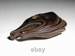 RARE Motif Head of Dried Salmon NETSUKE Japanese Original Edo Inro Antique