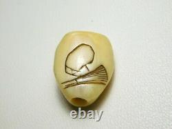 RARE Motif Noh Mask OJIME Bead NETSUKE Japanese Edo Original Inro Antique