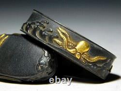 RARE Motif Octopus FUCHI/KASHIRA Japan Original Edo Sword Antique