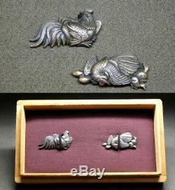 RARE Pure Silver Chickens MENUKI 19thC Japanese Edo Samurai Koshirae Antique