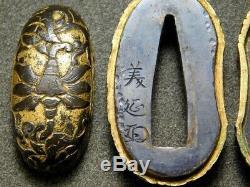 RARE SIGNED FUCHI/KASHIRA/KOIKUCHI 18/19C Japanese Edo Original Antique koshirae