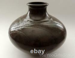 RARE & SIGNED Japanese BRONZE & SILVER inlaid ORCHID flowers Ikebana VASE