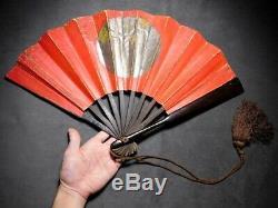 RARE Signed GUNSEN (TESSEN) Iron & Wood Hand Fan Japanese Edo Original Antique