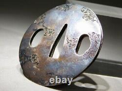 RARE Silver-O-SEPPA 18-19thC Japanese Original Antique Edo Koshirae Tsuba