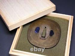RARE Sterling SHIBUICHI TSUBA 18-19thC Japanese Edo Antique for Koshirae e997