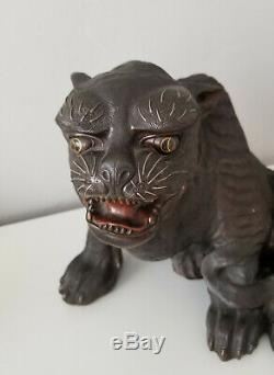 RARE Tiger Japanese statue antique OKIMONO Original Hand Made Gold Inlay art