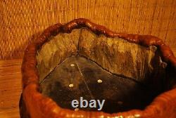 RARE UNUSUAL ANTIQUE JAPANESE NATURAL WOOD HIBACHI / Ikebana Flower Pot