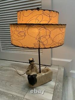 RARE VINTAGE 1940-50s MID-CENTURY CHINESE JAPANESE TIERED LAMP & SHADE