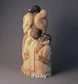 Rare 19thC Okimono of Large Seal Form. Soga Brothers Story Juro and Asahina